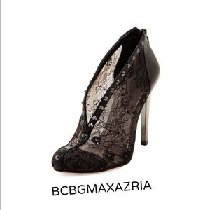 BCBGMAXAZRIA Studs Leather and Lace Booties